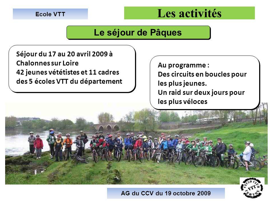Ecole VTT Les activités AG du CCV du 19 octobre 2009 Le séjour de Pâques Séjour du 17 au 20 avril 2009 à Chalonnes sur Loire 42 jeunes vététistes et 1