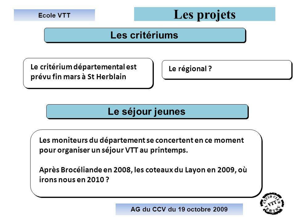 Ecole VTT Les projets AG du CCV du 19 octobre 2009 Le critérium départemental est prévu fin mars à St Herblain Les critériums Le régional ? Le séjour