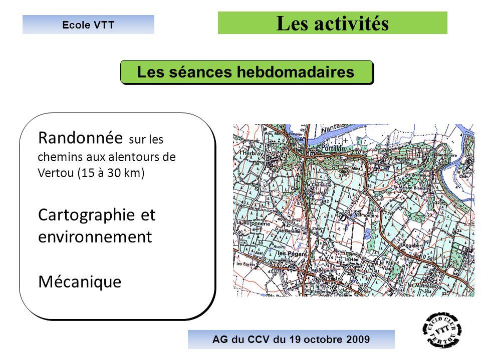 Ecole VTT Les activités Randonnée sur les chemins aux alentours de Vertou (15 à 30 km) Cartographie et environnement Mécanique Randonnée sur les chemi