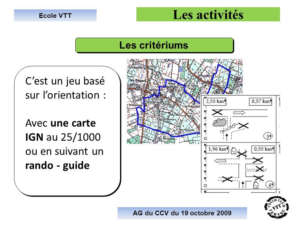 Ecole VTT Les activités Cest un jeu basé sur lorientation : Avec une carte IGN au 25/1000 ou en suivant un rando - guide Cest un jeu basé sur lorientation : Avec une carte IGN au 25/1000 ou en suivant un rando - guide AG du CCV du 19 octobre 2009 Les critériums