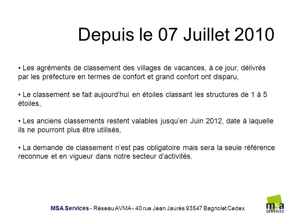 Depuis le 07 Juillet 2010 MSA Services - Réseau AVMA - 40 rue Jean Jaurès 93547 Bagnolet Cedex Les agréments de classement des villages de vacances, à