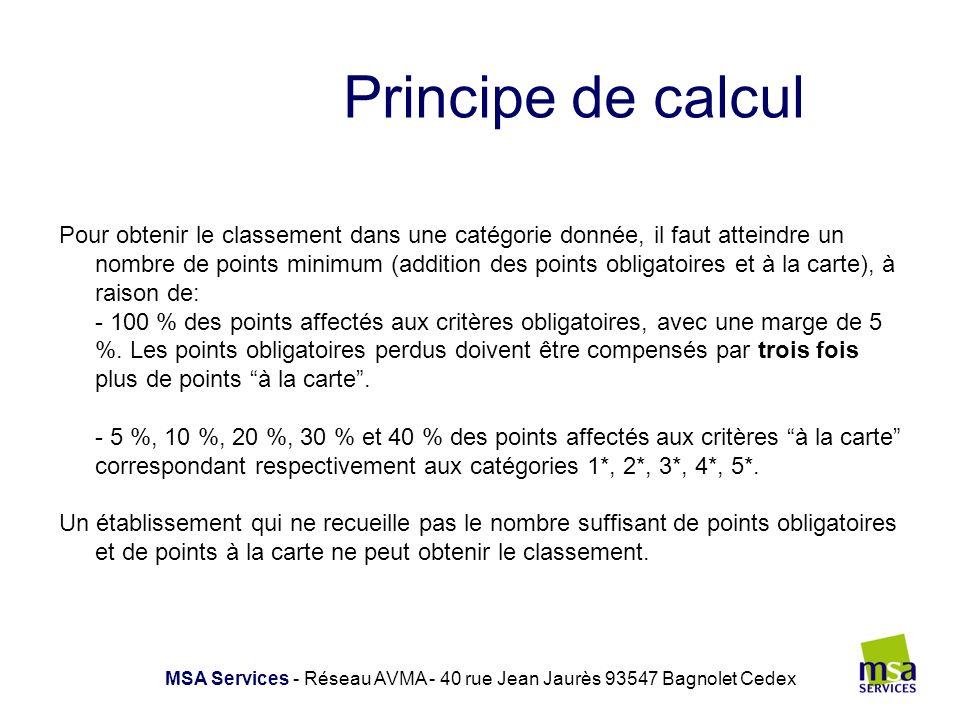 Résultats attendus MSA Services - Réseau AVMA - 40 rue Jean Jaurès 93547 Bagnolet Cedex Catégories1*2*3*4*5* Nb de points obligatoires maximum260299320365414 Tolérance en nb de points obligatoires (5% des points obligatoires)1315161821 Nb.