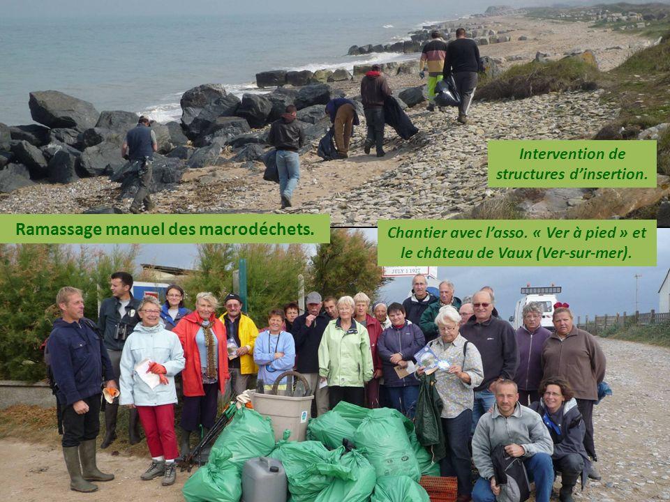 Ramassage manuel des macrodéchets. Intervention de structures dinsertion. Chantier avec lasso. « Ver à pied » et le château de Vaux (Ver-sur-mer).