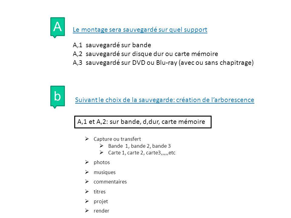 A Le montage sera sauvegardé sur quel support A,1 sauvegardé sur bande A,2 sauvegardé sur disque dur ou carte mémoire A,3 sauvegardé sur DVD ou Blu-ray (avec ou sans chapitrage) b Suivant le choix de la sauvegarde: création de larborescence A,1 et A,2: sur bande, d,dur, carte mémoire Capture ou transfert Bande 1, bande 2, bande 3 Carte 1, carte 2, carte3,,,,,etc photos musiques commentaires titres projet render