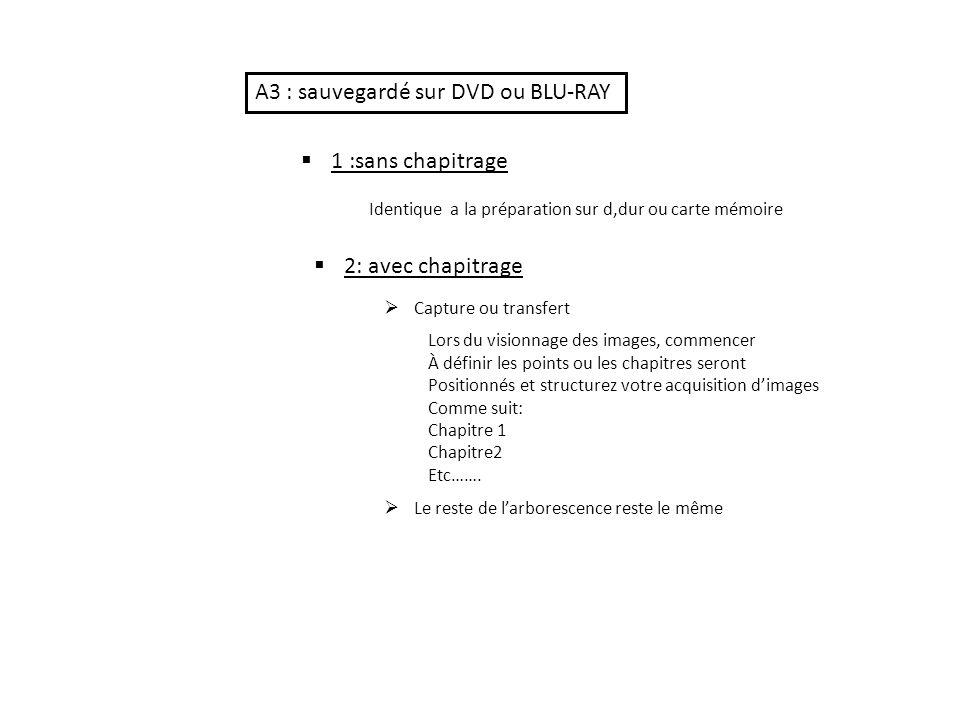 A3 : sauvegardé sur DVD ou BLU-RAY 1 :sans chapitrage Identique a la préparation sur d,dur ou carte mémoire 2: avec chapitrage Capture ou transfert Lors du visionnage des images, commencer À définir les points ou les chapitres seront Positionnés et structurez votre acquisition dimages Comme suit: Chapitre 1 Chapitre2 Etc…….