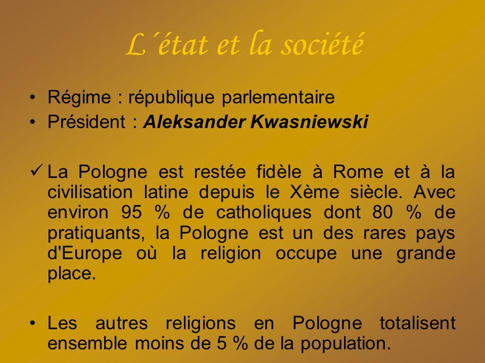 L´état et la société Régime : république parlementaire Président : Aleksander Kwasniewski La Pologne est restée fidèle à Rome et à la civilisation lat