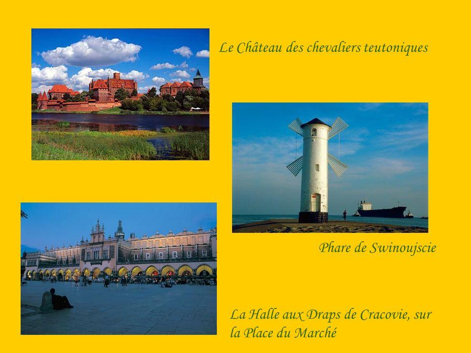 Le Château des chevaliers teutoniques Phare de Swinoujscie La Halle aux Draps de Cracovie, sur la Place du Marché