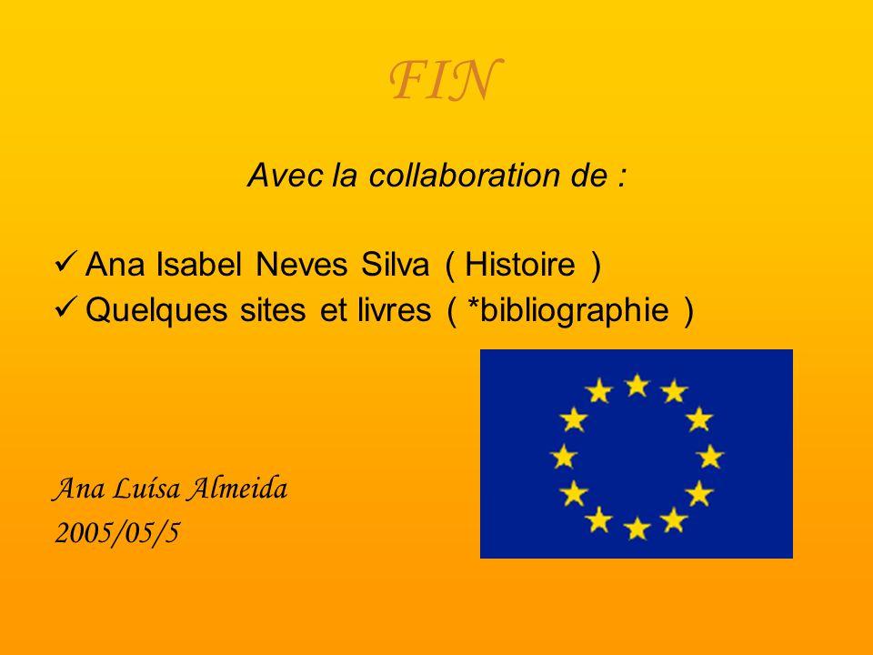 FIN Avec la collaboration de : Ana Isabel Neves Silva ( Histoire ) Quelques sites et livres ( *bibliographie ) Ana Luísa Almeida 2005/05/5