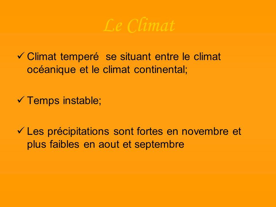 Le Climat Climat temperé se situant entre le climat océanique et le climat continental; Temps instable; Les précipitations sont fortes en novembre et
