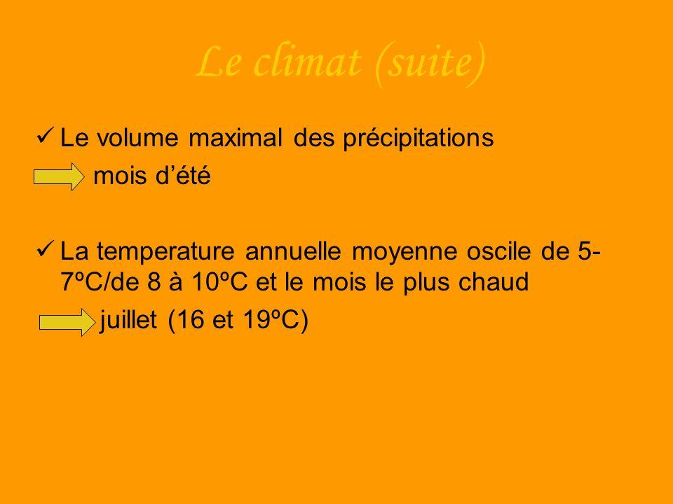 Le climat (suite) Le volume maximal des précipitations mois dété La temperature annuelle moyenne oscile de 5- 7ºC/de 8 à 10ºC et le mois le plus chaud