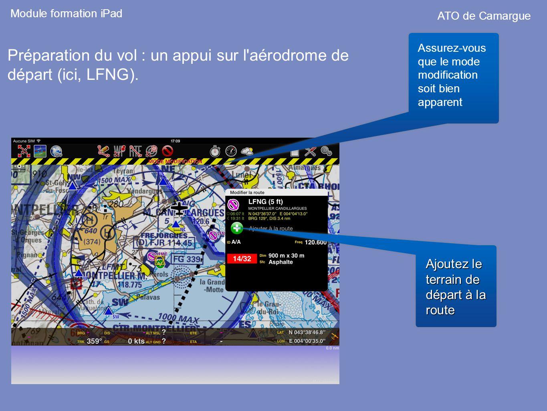 Préparation du vol : un appui sur l'aérodrome de départ (ici, LFNG). Assurez-vous que le mode modification soit bien apparent Ajoutez le terrain de dé