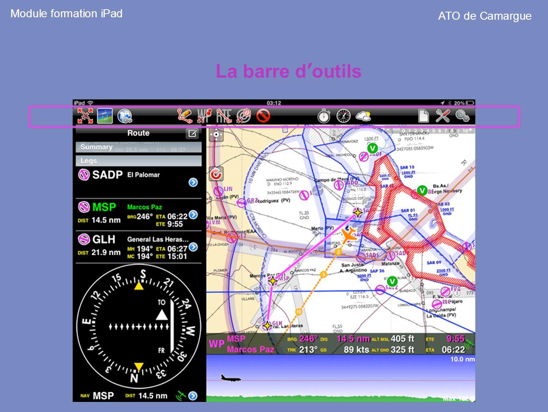 La barre doutils Module formation iPad ATO de Camargue