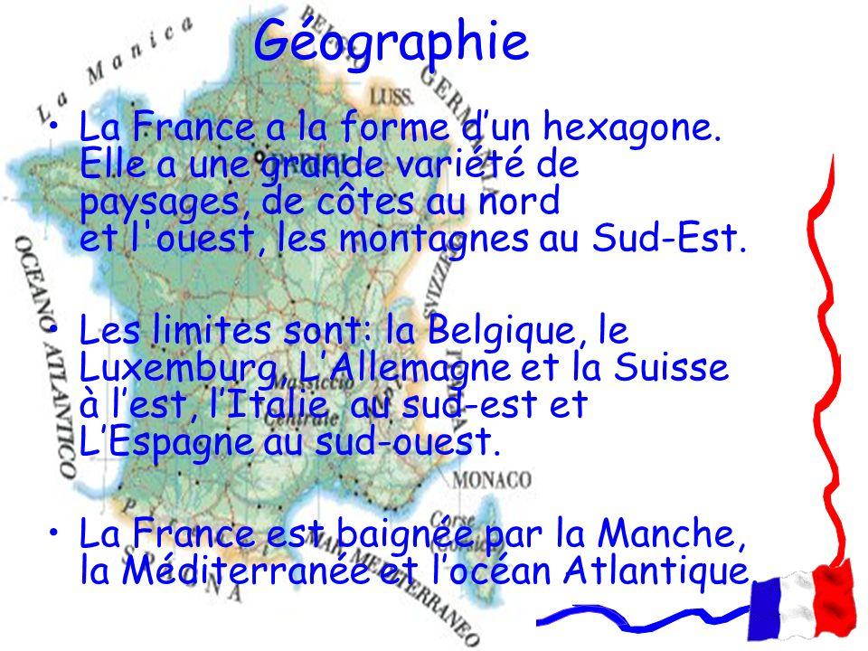 Géographie La France a la forme dun hexagone. Elle a une grande variété de paysages, de côtes au nord et l'ouest, les montagnes au Sud-Est. Les limite