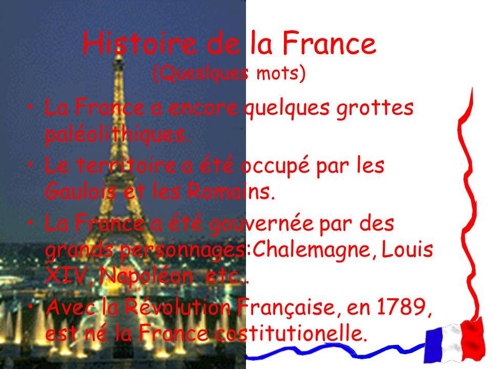 Histoire de la France (Queslques mots) La France a encore quelques grottes paléolithiques. Le territoire a été occupé par les Gaulois et les Romains.