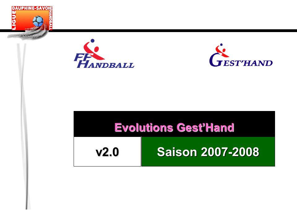 Evolutions GestHand v2.0 Saison 2007-2008