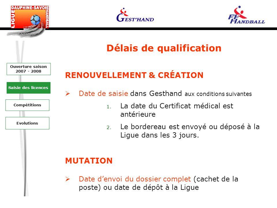 Délais de qualification Evolutions Saisie des licences Ouverture saison 2007 - 2008 Compétitions RENOUVELLEMENT & CRÉATION Date de saisie dans Gesthand aux conditions suivantes 1.