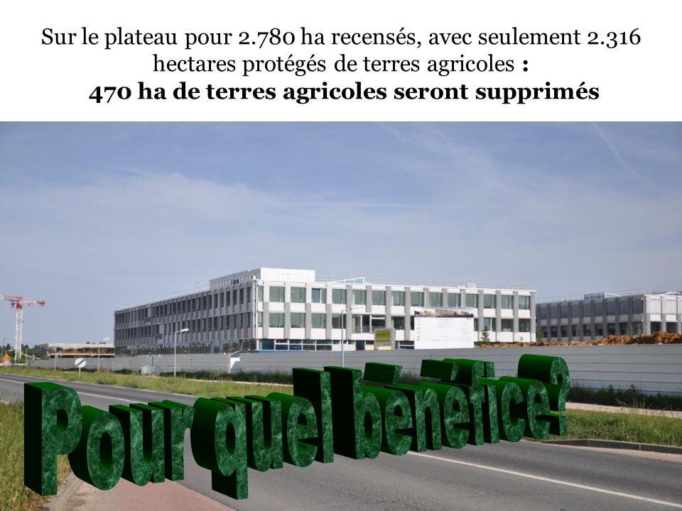 Sur le plateau pour 2.780 ha recensés, avec seulement 2.316 hectares protégés de terres agricoles : 470 ha de terres agricoles seront supprimés