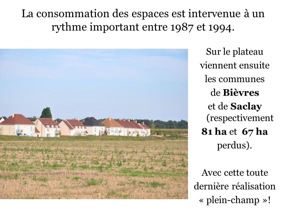 La consommation des espaces est intervenue à un rythme important entre 1987 et 1994. Sur le plateau viennent ensuite les communes de Bièvres et de Sac