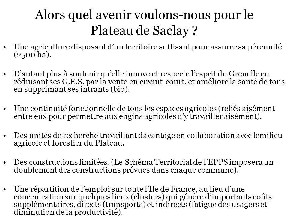 Alors quel avenir voulons-nous pour le Plateau de Saclay ? Une agriculture disposant dun territoire suffisant pour assurer sa pérennité (2500 ha). Dau