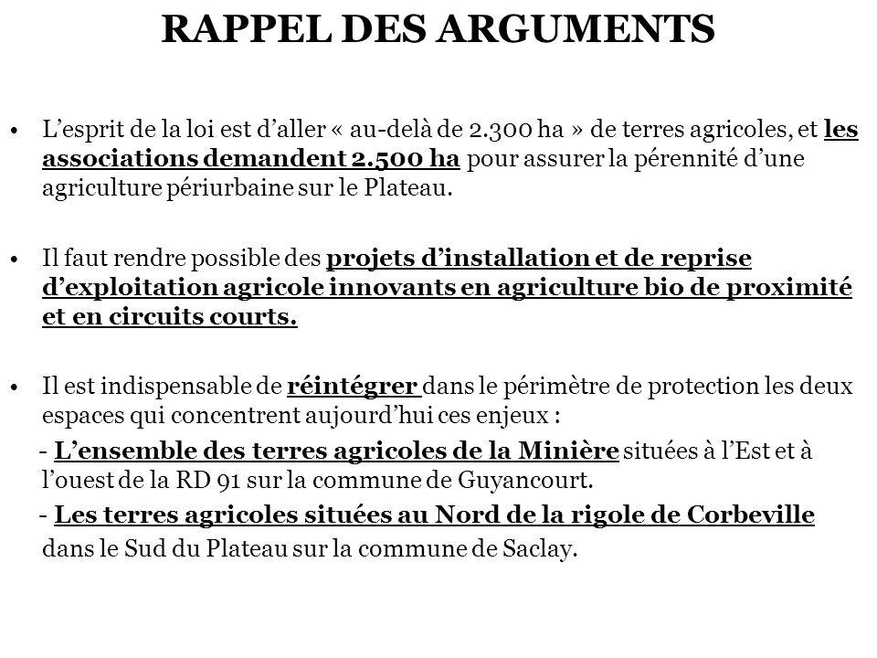 RAPPEL DES ARGUMENTS Lesprit de la loi est daller « au-delà de 2.300 ha » de terres agricoles, et les associations demandent 2.500 ha pour assurer la pérennité dune agriculture périurbaine sur le Plateau.