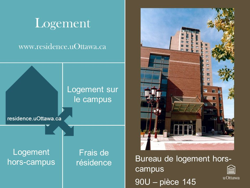 Logement www.residence.uOttawa.ca Logement sur le campus Logement hors-campus Bureau de logement hors- campus 90U – pièce 145 Frais de résidence residence.uOttawa.ca