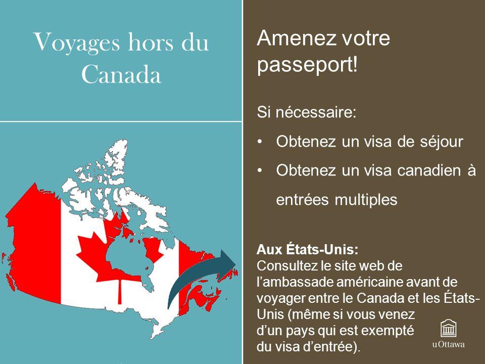 Voyages hors du Canada Amenez votre passeport.