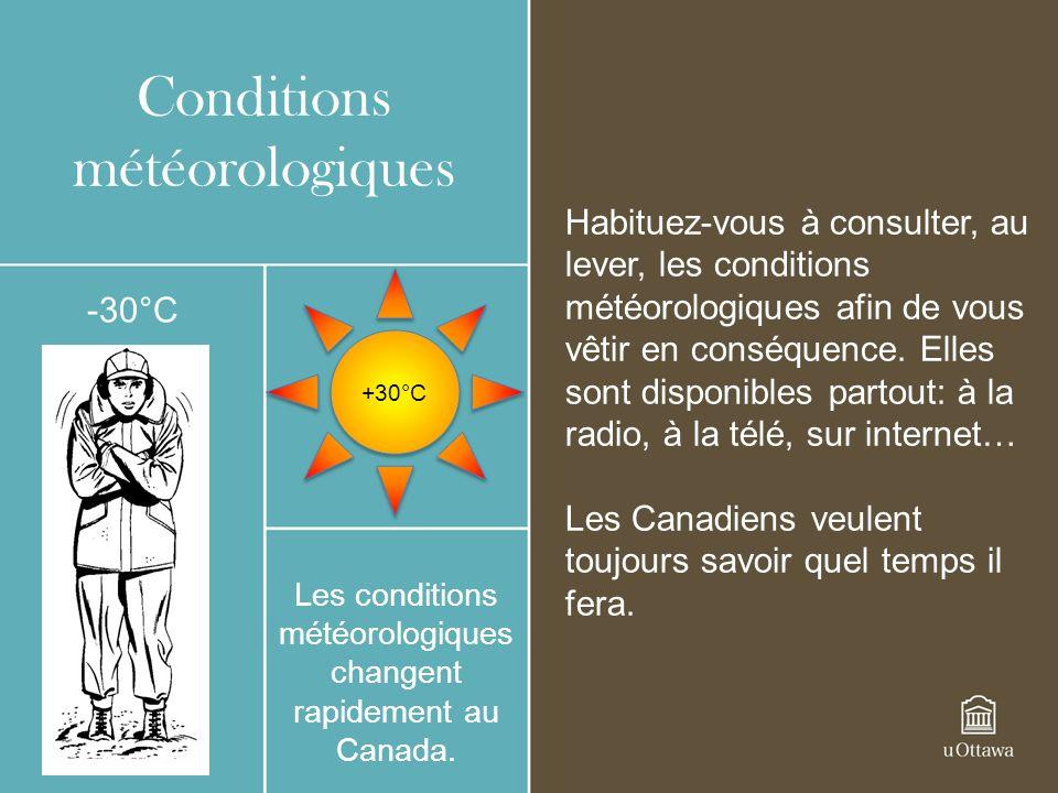 Conditions météorologiques Les conditions météorologiques changent rapidement au Canada.