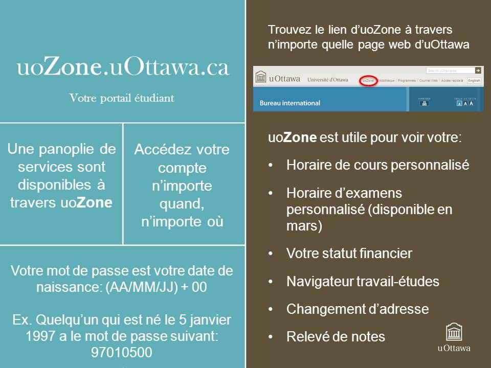 uoZone.uOttawa.ca uoZone est utile pour voir votre: Horaire de cours personnalisé Horaire dexamens personnalisé (disponible en mars) Votre statut financier Navigateur travail-études Changement dadresse Relevé de notes Une panoplie de services sont disponibles à travers uoZone Accédez votre compte nimporte quand, nimporte où Votre mot de passe est votre date de naissance: (AA/MM/JJ) + 00 Ex.