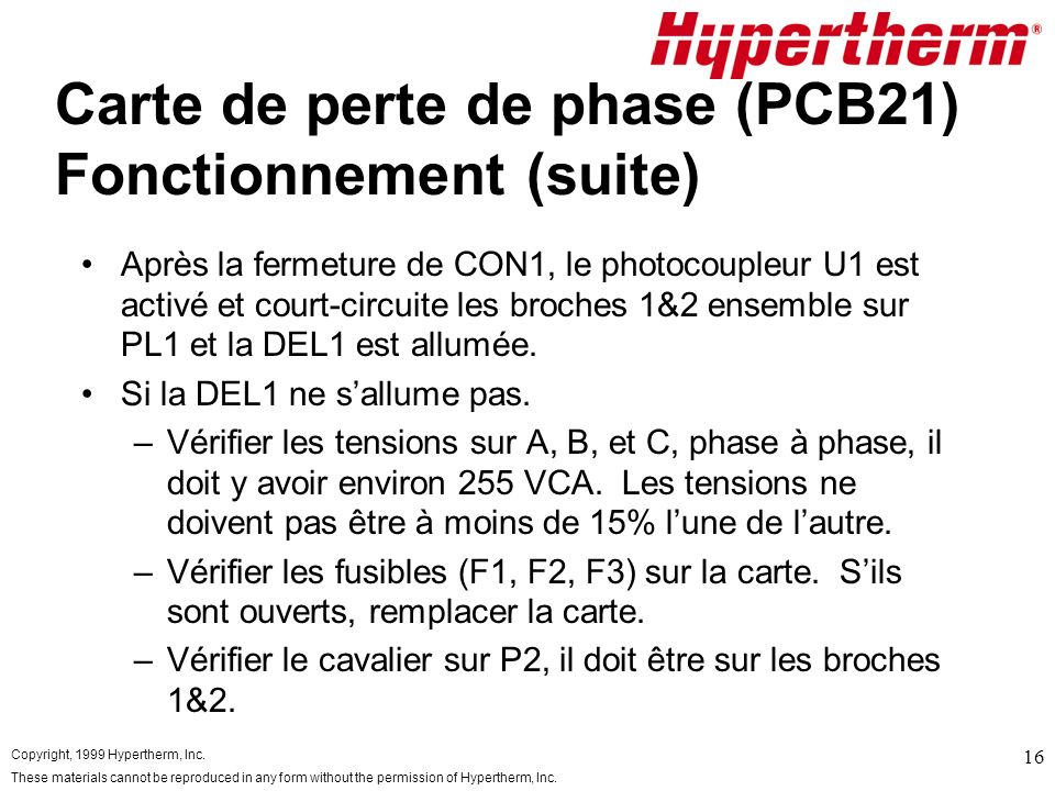 Copyright, 1999 Hypertherm, Inc. These materials cannot be reproduced in any form without the permission of Hypertherm, Inc. 16 Carte de perte de phas
