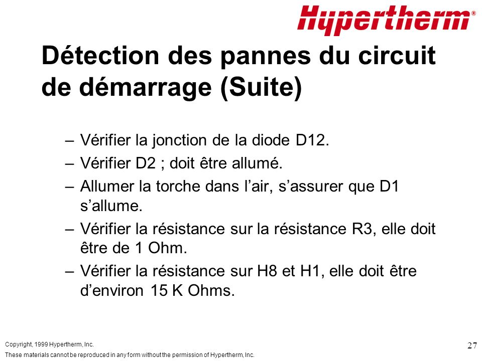 Copyright, 1999 Hypertherm, Inc. These materials cannot be reproduced in any form without the permission of Hypertherm, Inc. 27 Détection des pannes d