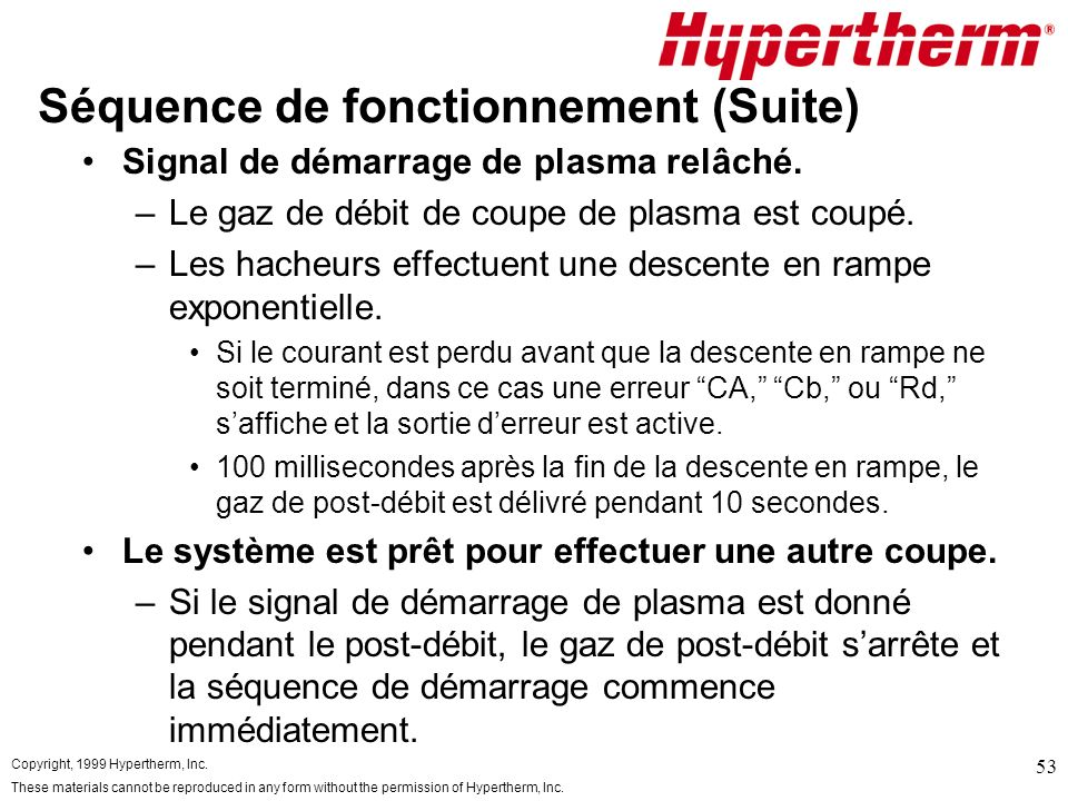 Copyright, 1999 Hypertherm, Inc. These materials cannot be reproduced in any form without the permission of Hypertherm, Inc. 53 Séquence de fonctionne