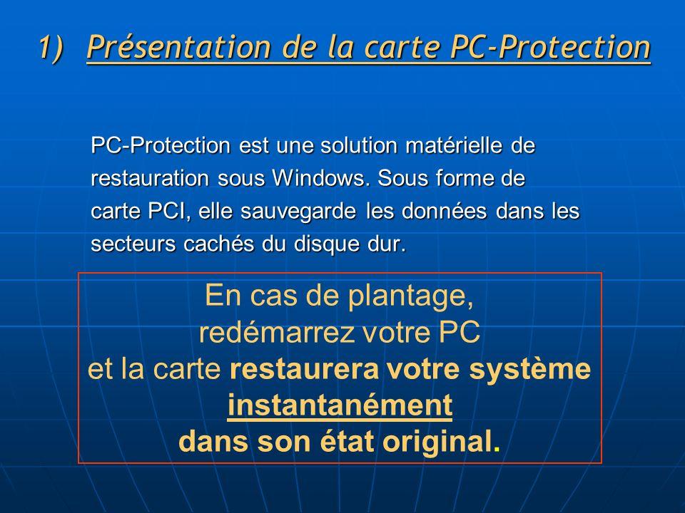 1)Présentation de la carte PC-Protection PC-Protection est une solution matérielle de restauration sous Windows. Sous forme de carte PCI, elle sauvega