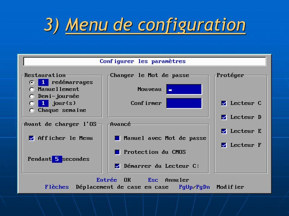 3)Menu de configuration