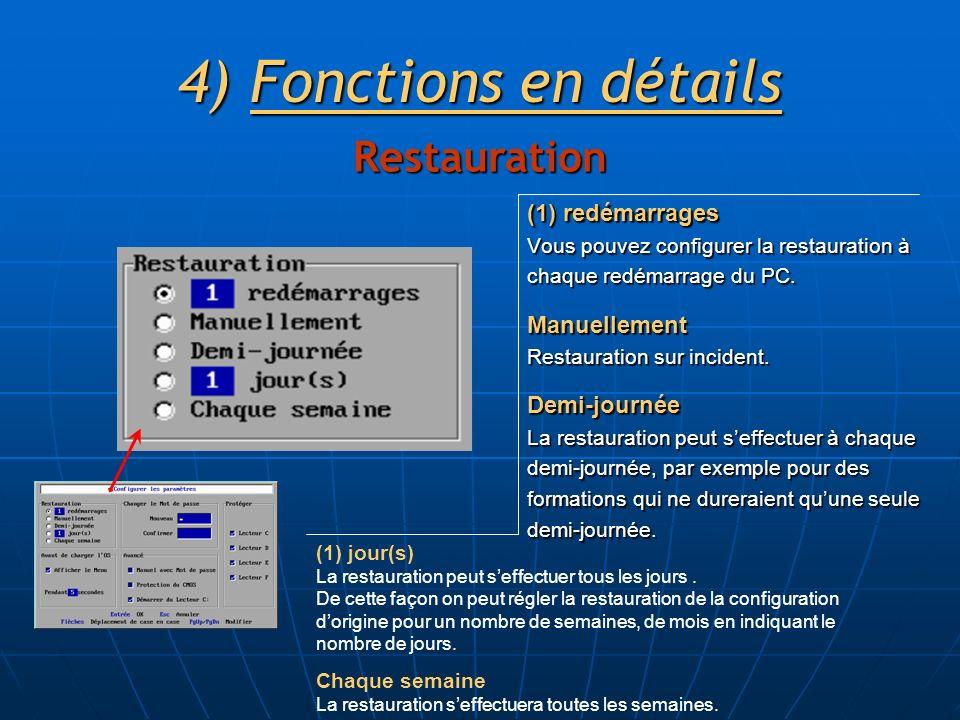 (1) redémarrages Vous pouvez configurer la restauration à chaque redémarrage du PC. Manuellement Restauration sur incident. Demi-journée La restaurati