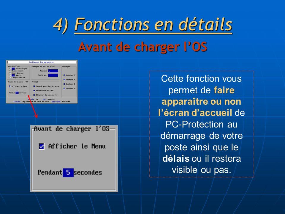 4)Fonctions en détails Avant de charger lOS Cette fonction vous permet de faire apparaître ou non lécran daccueil de PC-Protection au démarrage de votre poste ainsi que le délais ou il restera visible ou pas.