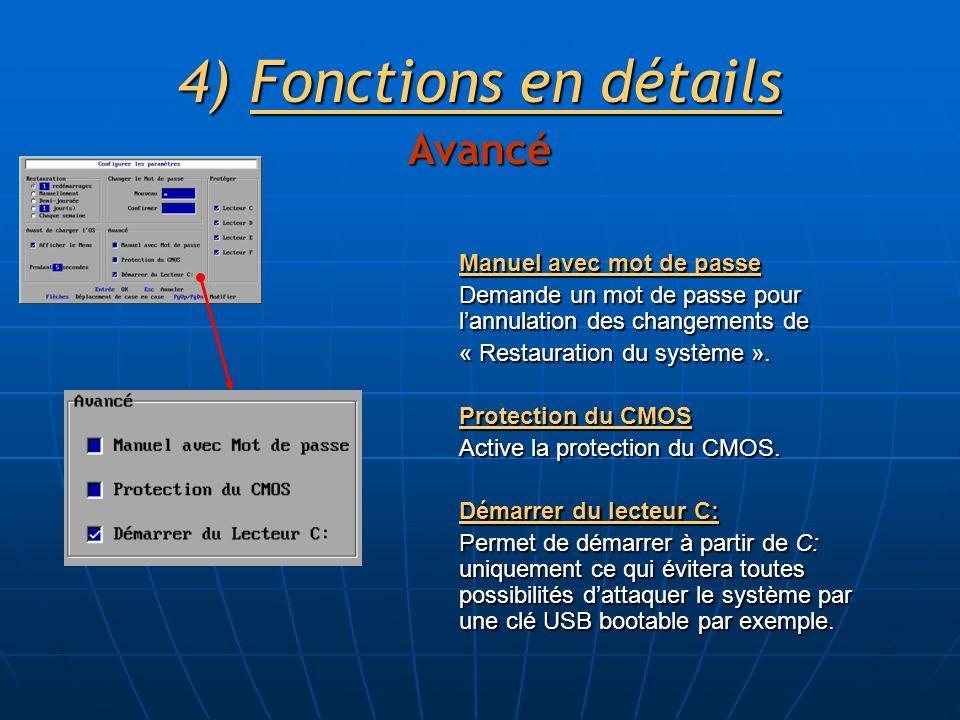 4)Fonctions en détails Avancé Manuel avec mot de passe Demande un mot de passe pour lannulation des changements de « Restauration du système ».