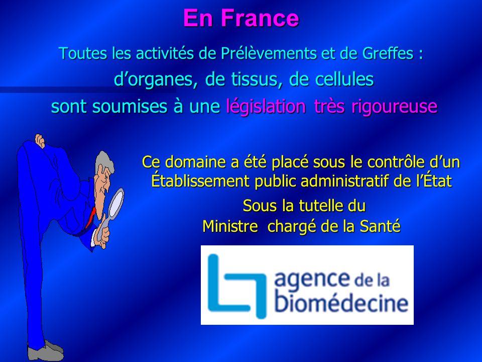 En France Toutes les activités de Prélèvements et de Greffes : dorganes, de tissus, de cellules sont soumises à une législation très rigoureuse Ce dom