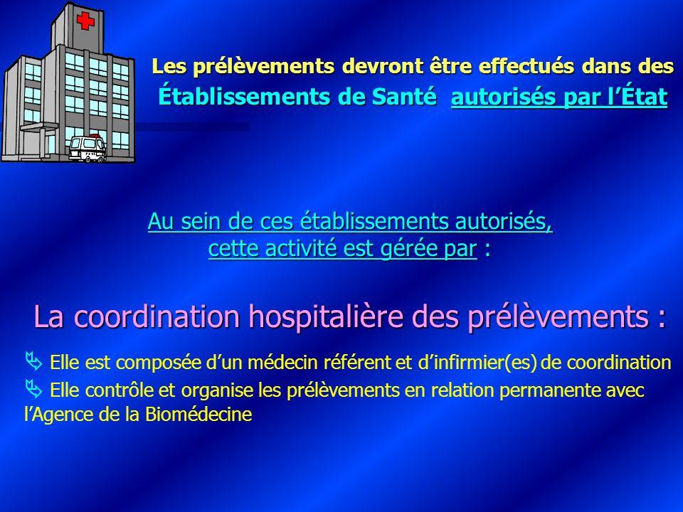 Les prélèvements devront être effectués dans des Établissements de Santé autorisés par lÉtat Au sein de ces établissements autorisés, cette activité e