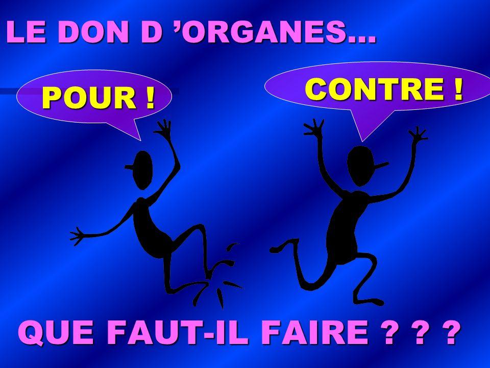 LE DON D ORGANES… QUE FAUT-IL FAIRE ? ? ? POUR ! CONTRE !