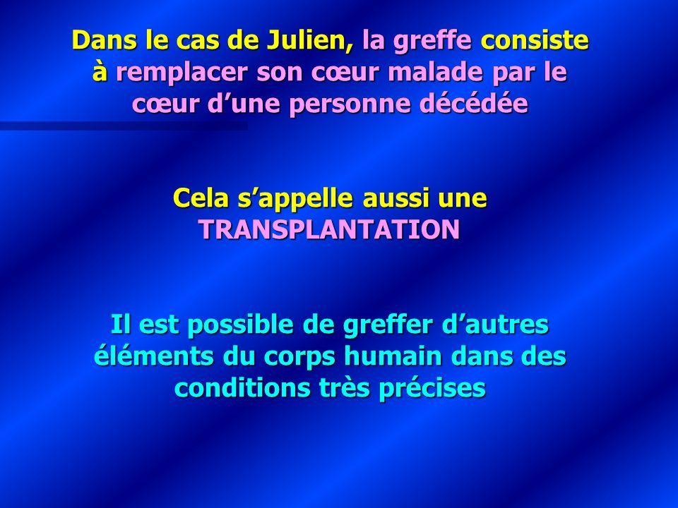 Dans le cas de Julien, la greffe consiste à remplacer son cœur malade par le cœur dune personne décédée Cela sappelle aussi une TRANSPLANTATION Il est