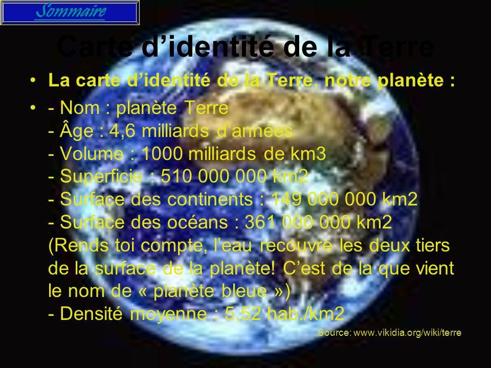 Carte didentité de la Terre La carte didentité de la Terre, notre planète : - Nom : planète Terre - Âge : 4,6 milliards dannées - Volume : 1000 millia