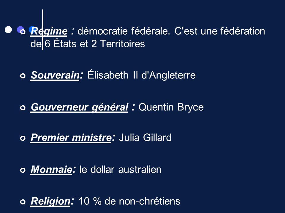 Régime : démocratie fédérale. C'est une fédération de 6 États et 2 Territoires Souverain : Élisabeth II d'Angleterre Gouverneur général : Quentin Bryc