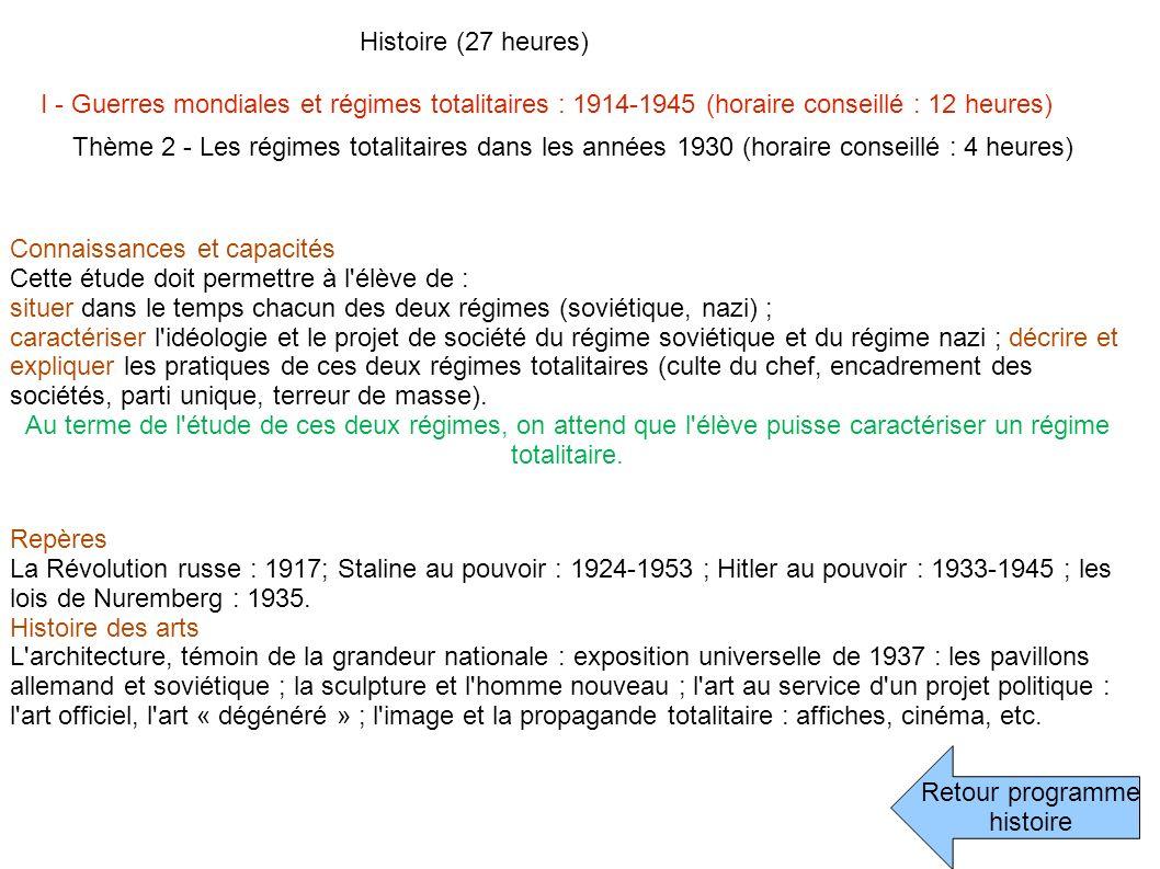 Retour programme histoire Histoire (27 heures) I - Guerres mondiales et régimes totalitaires : 1914-1945 (horaire conseillé : 12 heures) Thème 2 - Les