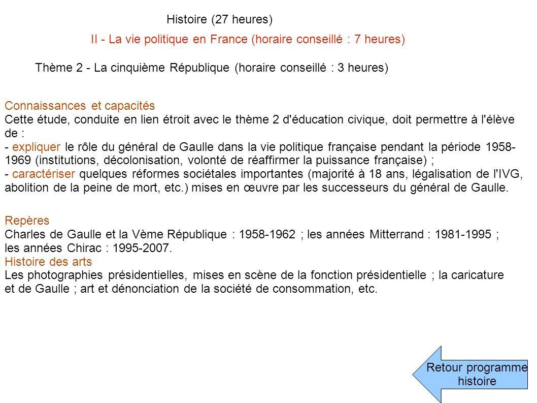 Retour programme histoire Histoire (27 heures) II - La vie politique en France (horaire conseillé : 7 heures) Thème 2 - La cinquième République (horai