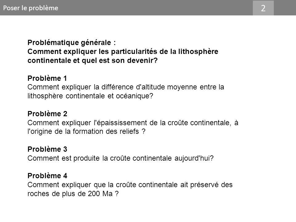 Poser le problème 2 Problématique générale : Comment expliquer les particularités de la lithosphère continentale et quel est son devenir? Problème 1 C