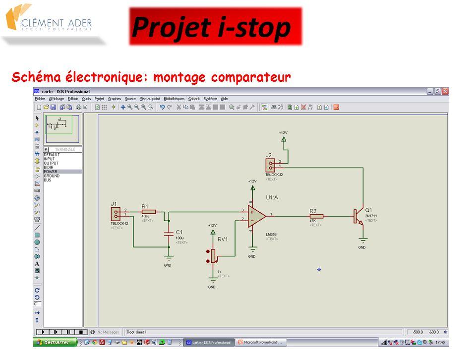 Schéma électronique: conception du typon pour gravure Projet i-stop