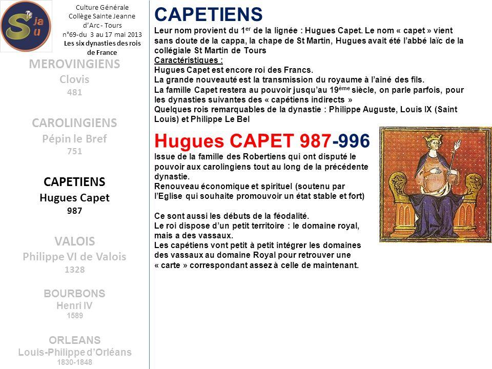 Culture Générale Collège Sainte Jeanne dArc - Tours n°69-du 3 au 17 mai 2013 Les six dynasties des rois de France CAPETIENS Leur nom provient du 1 er