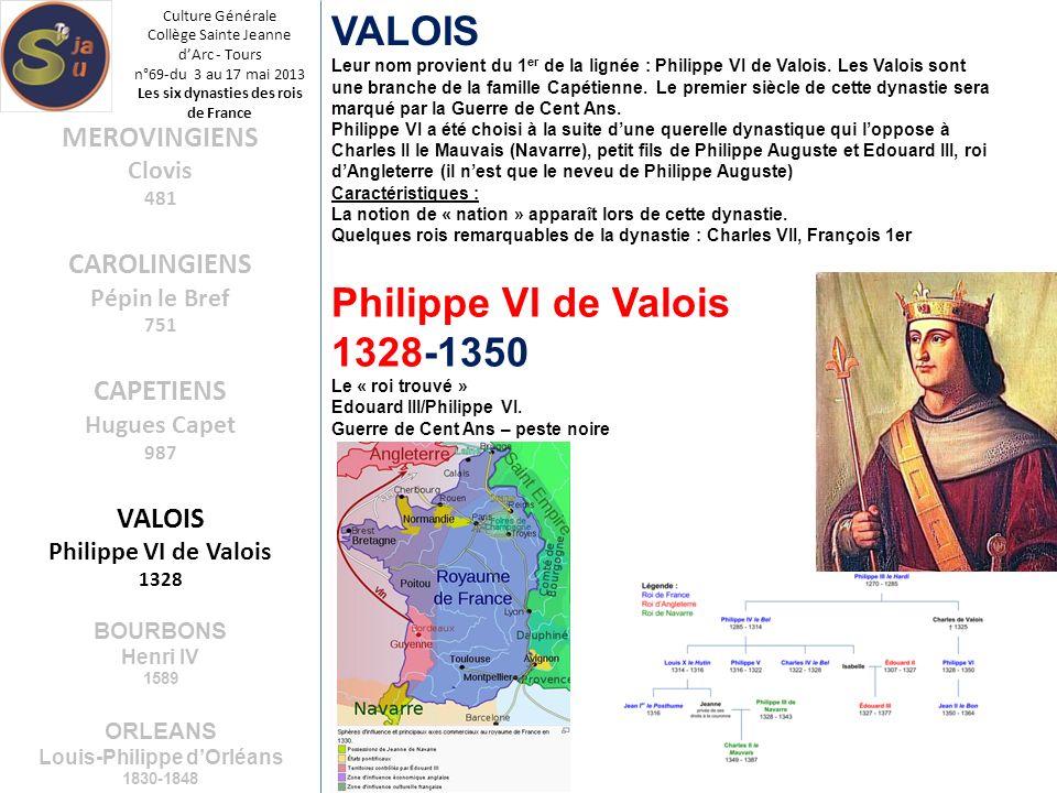 Culture Générale Collège Sainte Jeanne dArc - Tours n°69-du 3 au 17 mai 2013 Les six dynasties des rois de France VALOIS Leur nom provient du 1 er de