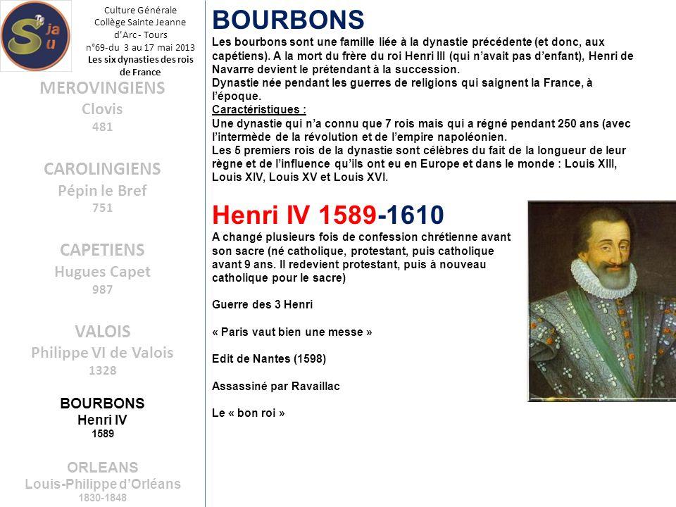 Culture Générale Collège Sainte Jeanne dArc - Tours n°69-du 3 au 17 mai 2013 Les six dynasties des rois de France BOURBONS Les bourbons sont une famil