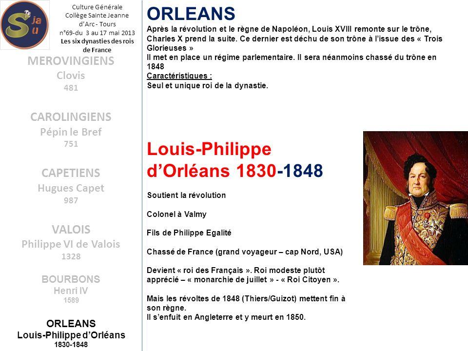 Culture Générale Collège Sainte Jeanne dArc - Tours n°69-du 3 au 17 mai 2013 Les six dynasties des rois de France ORLEANS Après la révolution et le rè